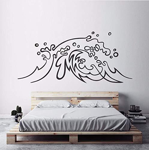 (Lvabc 57X26Cm Nautisch Design Wandaufkleber Ocean Wave Vinyl Wandtattoo Surf Art Home Schlafzimmer Dekor Strand Thema Meereswellen Wandmalereien)