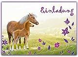 12 Pferde Einladungskarten Kindergeburtstag / Geburtstagseinladungen Mädchen Kinder / Einladungen Einhorn Blumen Pferdeparty - von Sophies Kartenwelt