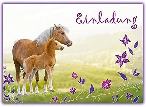 12 Pferde Einladungskarten zum Kindergeburtstag // Geburtstagseinladungen Mädchen Einladungen Geburtstag Kinder Blumen Einhorn Pferd Pferdeparty Set Karten Set