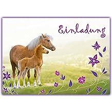 12 Pferde Einladungskarten Zum Kindergeburtstag // Geburtstagseinladungen  Mädchen Einladungen Geburtstag Kinder Blumen Einhorn Pferd Pferdeparty