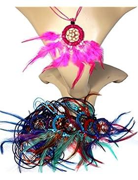 10 x Traumfänger Kette TON in TON Dreamcatcher gemischte Farben 3,5 cm. Ring Kindergeburtstag Kinder Schmuck