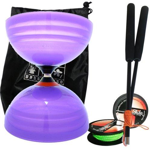 Preisvergleich Produktbild Sundia Diabolo Shining, mit 3fach-Kugellager, Wettbewerbsmodell, Violett, inkl. Profi-Carbonstäbe, 10 m Profi-Schnur Slide und Transporttasche
