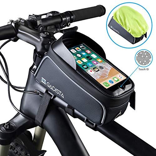 GADISTA New Sacoche Cadre de Velo téléphone Tactile (Jusqu'à 6.5 Pouces) avec Touch ID. Support GPS étanche pour vélo. Pochette avec Espace de Rangement maintenue par 4 Velcros Rapide à Installer.