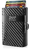 ZNAP Kreditkartenetui mit Geldklammer Aluminium und Münzfach - RFID Schutz - Slim Wallet Carbon...