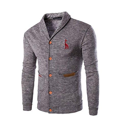 BOMOVO Herren Weihnachten Sweater Slim Fit Pullover Schlank Feste Farbe Strickjacke Grau