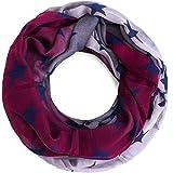 Compagno Stern Loop-Schal mit großen und kleinen Sternen Schlauchschal, SCHAL Farbe:Verlauf Grau-Weinrot