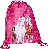 Sportbeutel Turnbeutel Rucksack Pferde pink 34x44cm