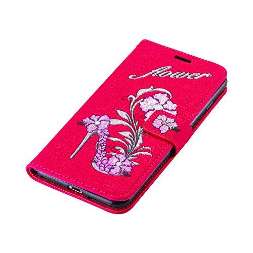 Cover pelle per iPhone 7 Plus / iPhone 8 Plus Custodia, ZCRO Elegante Flip Cover Portafoglio Libro Custodia in Pelle Protettiva Magnetica Case con Glitter Brillantini Fiori Modello Disegni Stilo Penna Rosso,viola