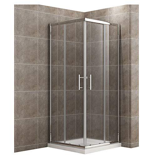 80x80cm Eckeinstieg Duschkabine Sicherheitsglas Schiebetür Eckdusche Duschabtrennung Duschschiebetür Glas -