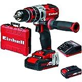 Einhell Expert TE-CD 18 Li-i BL - Taladro percutor sin cable brushless con 2 baterías (sin escobillas, batería de litio, 2.0 Ah, 18 V, 2 velocidades, 60 Nm, luz LED, Power-X-Change), color rojo
