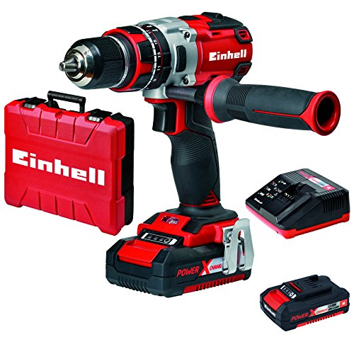 Einhell TE-CD 18 Li-i – Taladro percutor sin cable (18 V, 2 velocidades, 60 Nm, luz LED, Power-X-Change) rojo
