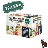 Wildes Land | Nassfutter für Katzen | Mix | Bio | 12 x 85 g | Aus kontrolliertem biologischen Anbau | Getreidefrei | Extra viel Fleisch