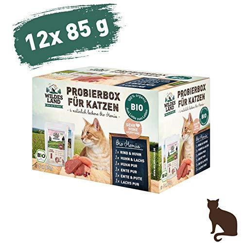 Wildes Land | Nassfutter für Katzen | Mix | Bio | 12 x 85 g | Aus kontrolliertem biologischen Anbau | Getreidefrei | Extra viel Fleisch -