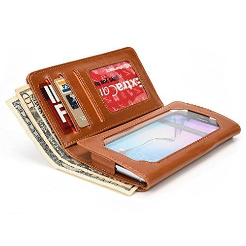 Kroo Portefeuille unisexe avec HTC One Dual Sim/Desire 510/Desire 610/One ajustement universel différentes couleurs disponibles avec affichage écran Bleu - bleu Marron - marron