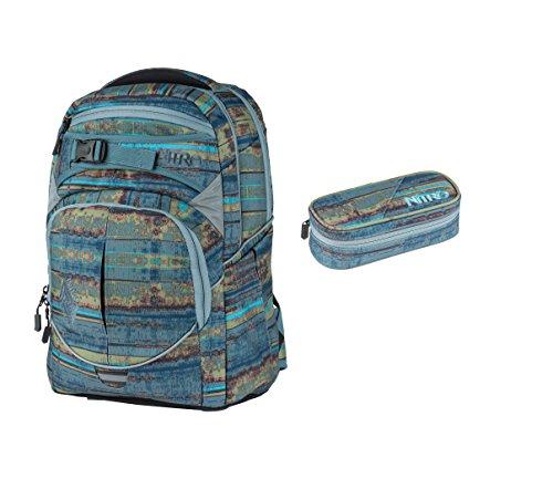 Nitro Rucksack Superhero Schoolbag 30L, Schulranzen, viele Fächer, standfeste Bodenplatte, Plus Federmäppchen, Frequency Blue