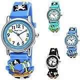 Pure Time Kinder-Uhr Mädchen-Uhr für Kinder Jungen-Uhr Silikon-Kautschuk Armband-Uhr Uhr mit 3d Piraten Motiv Lern-Uhr Schul-Uhr Sport-Uhr Blau Hell-BLAU Schwarz Rot Grün (Blau)