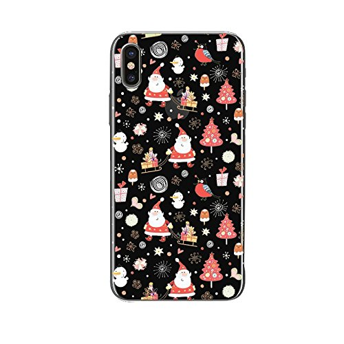 iphone X Silicone Cover, Cover per iphone X 5.8, Custodia iphone 10 Morbido, Ekakashop Fantasia Moda Painting Natale Colorata Pattern Gel Cristallo Silicone Gomma Soft TPU Ragazza Ragazzo Shockproof A C#17