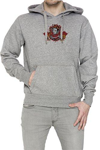 Scrittura cinese e la donna Iwth due draghi Uomo Grigio Felpa Felpa Con Cappuccio Pullover Grey Men's Sweatshirt Pullover Hoodie