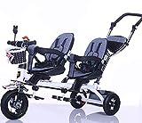 GHDE& Tricycle d'enfants, Vélo à Deux Places pour Enfants avec Verrouillage de la...