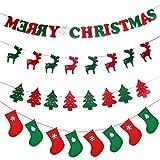 flintronic Festone Natale, Set Decorazioni Natale Festone in Feltro Ghirlande Carta Bandiera per Natale Festa Compleanno Casa e ecc. Include 4 Festoni di diversi Medelli