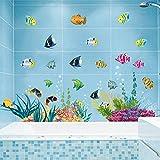 Stickerkoenig Wandtattoo Wandaufkleber Fische Meerestiere Ozean Unterwasserwelt 2D Sticker auch als Fliesenaufkleber im Badezimmer auf 2 XXL Bögen #2011