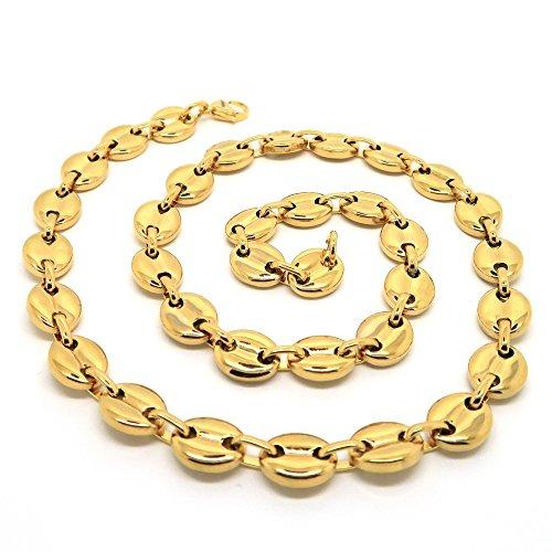 BOBIJOO Jewelry - Kaffeebohnen-Halskette Kette für Herren, Edelstahl feinvergoldet, 13mm, 60cm,...