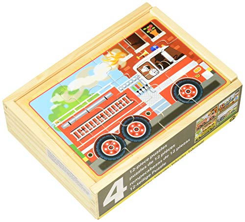 Melissa & Doug 4 Verschiedene Holzpuzzle - Fahrzeuge (48 Teile) (Puzzle Dampfmaschine)