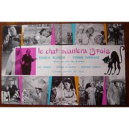 Dossier de presse de Le Chat miaulera trois fois (1960) – 31x48cm - Film de Steno avec Francis Blanche, Yvonne Furneaux – Photos N&B + résumé scénario – Bon état.