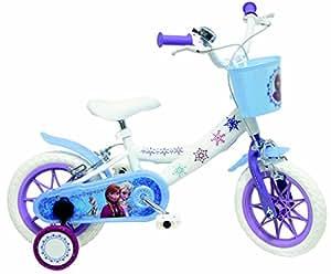 """Disney La Reine des Neiges Vélo Enfant Blanc/Bleu 10"""" avec Canne"""