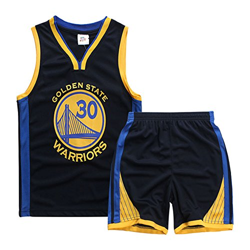 Sokaly ragazzi chicago bulls jorden # 23 golden state curry boston pantaloncini da basket jerseys set di abbigliamento sportivo maglie top e shorts 3-10anni (blu profondo#30, xl(7-8 anni))