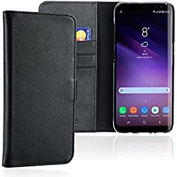 MIQODO MiWallet Echtleder Wallet Case fürs Samsung Galaxy S8 mit 3 Kartenfächern, Premium Design Flip Etui Tasche in schwarz