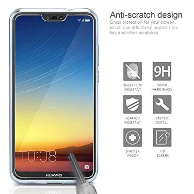 """Coque Huawei P20 Lite Transparente + Verre trempé Écran Protecteur, Leathlux Souple Silicone Étui Protection Bumper Housse Clair Doux TPU Gel Case Cover pour Huawei P20 Lite 5.84"""" par Leathlux - Coques et housses"""