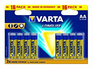 Varta Longlife AA Batteries - 16-Pack