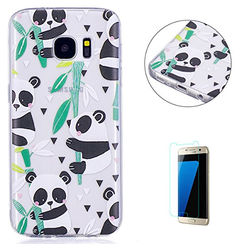KaseHom Case for(Samsung Galaxy S7) Cas de TPU Clair Cristal[gratuit Protecteur d'écran] Conception drôle d'anime Ultra Mince Doux Couvercle de pare-choc en caoutchouc-Panda en bambou