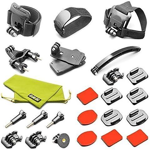DeKaSi Kit de Accesorios de Deportes al Aire Libre para GoPro Hero 4 Kit de 3 + 3 2 1 Negro de Accesorios de Plata para GoPro SJ4000 SJ5000 Cámara de los