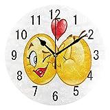 Domoko Home Decor Happy Emoji-Valentine 's Day Love Herz, Rund Acryl Wanduhr Geräuschlos Silent Uhr Kunst Wohnzimmer Küche Schlafzimmer