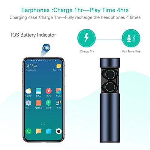 HolyHigh Bluetooth Kopfhörer in Ear Bluetooth Headset Stereo-Minikopfhörer Sport Wasserdicht mit Ladekästchen und Integriertem Mikrofon für Android Samsung iPad Huawei HTC (Dämmerung) - 3