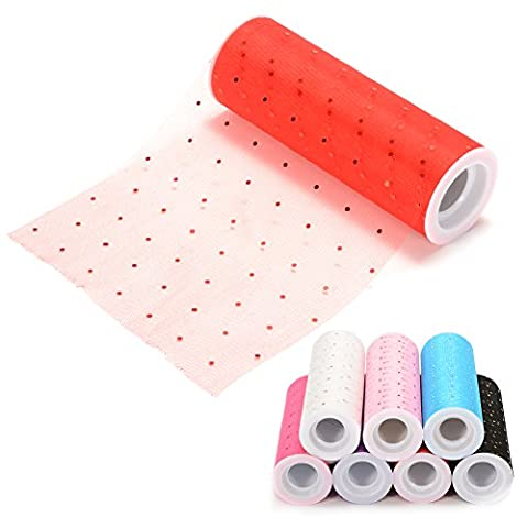 Lugii Cube Sparkling Rouleau de tulle à paillettes de mariage, DIY 15,2cm X 9,1m Tulle Tissu à rouleau pour décoration de fête de mariage, fête, Rouge