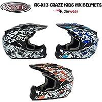 NEW KIDS Motocross Casco RS cartone Craze Junior Moto Quad ATV ACU ECE Approvato ON e OFF ROAD Casco in Nero/Argento (grande)