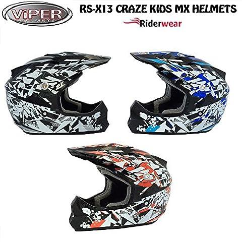 Neuf enfants casque Cross RS X13Craze Junior pour moto Quad ATV ECE ACU Approuvé on et Off Road casque en noir/argent