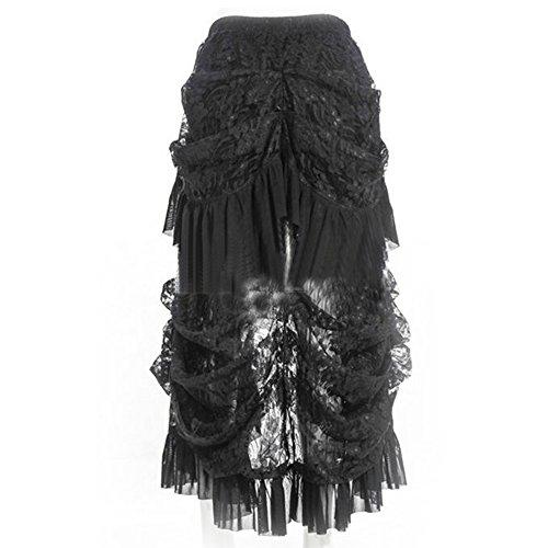ETASSO Damen Schwarz Steampunk Rock Irregulär Kleid Cosplay Kostüm Schwarz