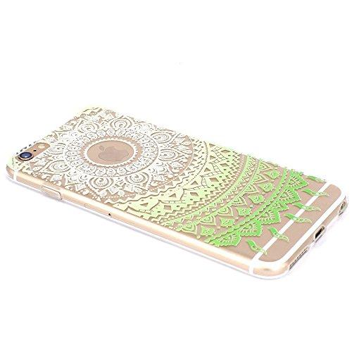 iPhone 6S Plus Hülle, iPhone 6 Plus Hülle, SpiritSun Transparent Schutzhülle für Apple iPhone 6 6S Plus (5.5 Zoll) PC Hart Handyhülle Extrem Dünne Bumper Cover mit Tribal Muster - Bunt Lotus Blume Z-Grün Lotus Blume 2