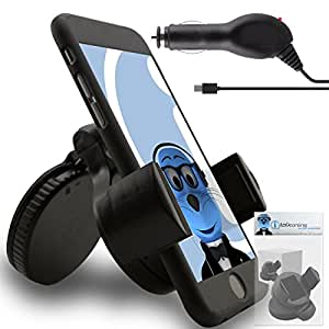 iTALKonline Celkon A85 Black iHOLDER UNIVERSAL COMPACT 360 Degrees Rotating Case Compatible Wind Screen Dashboard Suction Mount Holder with 1000 mAh In Car Charger