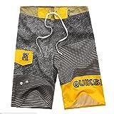 Baymate Herren Badeshorts Mit Streifen Badehose Spleiß Boardshorts Surf-Shorts Gelb 36