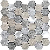 Mosaico de Mármol y Vidrio en Malla DEC-47295ATQSNX , Gris, 8 mm, 30 x 30 cm
