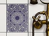 creatisto Badfliesen   Selbstklebende Aufkleber Folie Sticker Dekor-Fliesen Küchen-Folie Badezimmergestaltung   15x20 cm Design Motiv Blue Mandala - 1 Stück