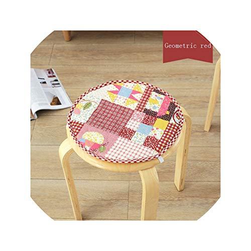 ns Qualitäts-Baumwollleinen Runde Stuhl Sitzkissen für Kinder Antiskid Nette runde Kissen-dekoratives, 7Geometric-Rot, About30Cm-32cm ()