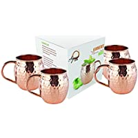Lumenon Set de 4 Mule Mug de Moscú - Tazas de cobre 100% Pure Solid