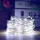 Lichterkette Solar, 20m/65ft Außen Led Sternenlicht Lichtschlauch 200 LEDs Kupferdraht Wasserdichte Lichterketten Außen Drahtlichterketten Deko für Partys Garten Hochzeiten (Kaltweiß)