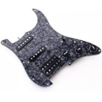 SODIAL (R) Chitarra elettrica Pickguard Pickups Loaded Prewired 11 Hole SSH Black Pearl